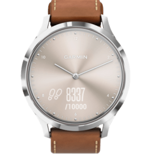 GARMIN GARMIN Vivomove HR Premium 010-01850-9A Analog Dial Silver Tan Brown Leather Strap